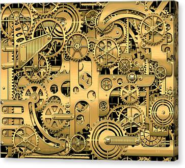 Complexity And Complications - Clockwork Gold Canvas Print by Serge Averbukh