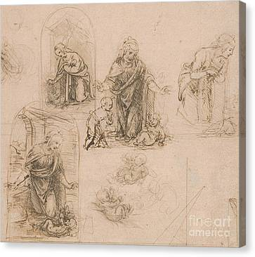 Jesus Christ Canvas Print - Compositional Sketches For The Virgin Adoring The Christ Child by Leonardo Da Vinci