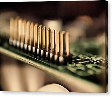 Computer Board Gold Pins Canvas Print