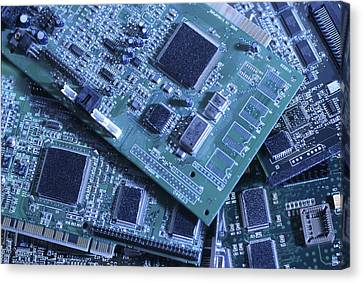 Computer Boards And Chips Lie In A Pile Canvas Print by Taylor S. Kennedy