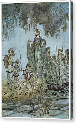 Comus Sabrina Rises Attended By Water-nymphs Canvas Print