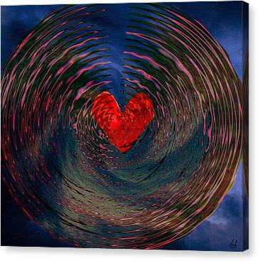 Canvas Print featuring the digital art Concentric Love by Linda Sannuti