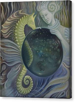 Canvas Print featuring the painting Conch Woman by Tone Aanderaa
