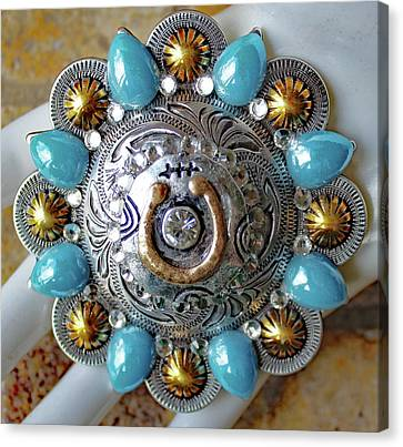 Concho Belt Buckle Canvas Print by Katherine Sutcliffe