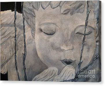 Concret Angel Canvas Print by Lori Jacobus-Crawford