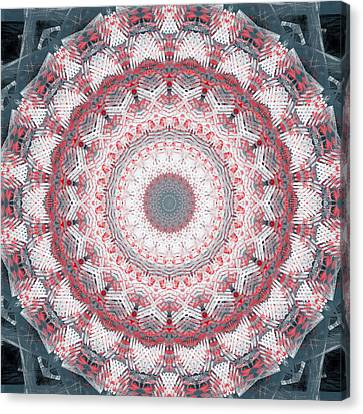 Concrete And Red Mandala- Abstract Art By Linda Woods Canvas Print