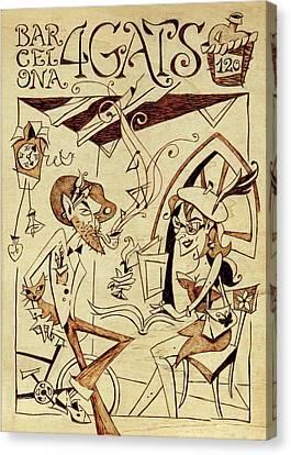 Concurs Disseny Grafic - Cartell Restaurant Els Quatre Gats Barcelona Canvas Print by Arte Venezia