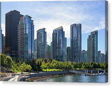 Condominium Waterfront Living In Vancouver Bc Canvas Print by David Gn