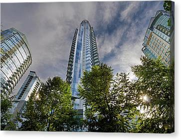 Condominiums Along Waterfront In Vancouver Bc Canvas Print by David Gn
