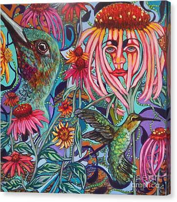 Coneflower And Hummingbird Canvas Print
