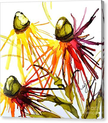 Abstracted Coneflowers Canvas Print - Coneflower Cocktail by Marla Beyer