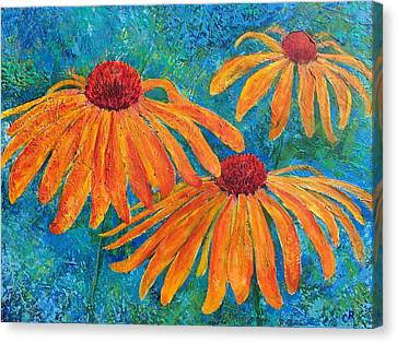 Canvas Print featuring the painting Coneflower Trio by Chris Rice