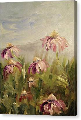 Canvas Print featuring the painting Coneflowers by Donna Tuten