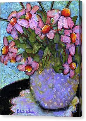 Coneflowers In Lavender Vase Canvas Print by Blenda Studio