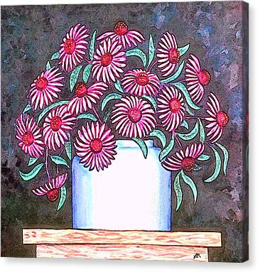 Folk Art Canvas Print - Coneflowers by Linda Mears