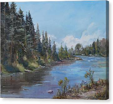 Conejos River Bend Canvas Print by Elaine Monnig