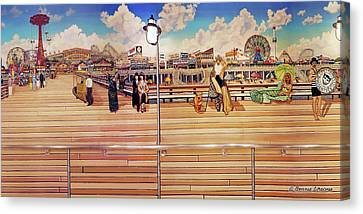 Coney Island Boardwalk Canvas Print by Bonnie Siracusa