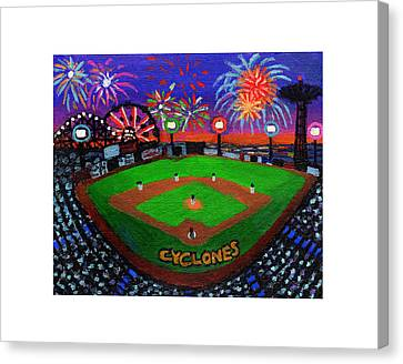 Coney Island Cyclones Fireworks Display Canvas Print by Bonnie Siracusa