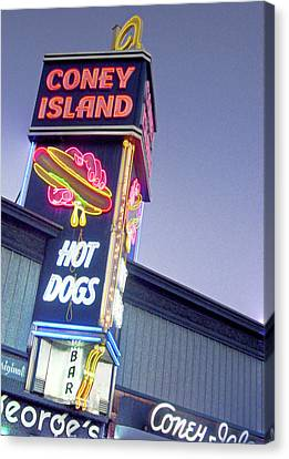 Coney Island Hot Dog Sign Canvas Print