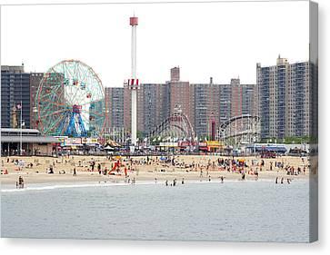 Enjoyment Canvas Print - Coney Island, New York by Ryan McVay