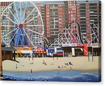 Coney Island, Ny  Canvas Print by Tina Mostov