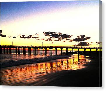 Coney Island Pier Sunset Canvas Print by Frank Winters