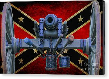 Confederate Flag And Cannon Canvas Print by Randy Steele