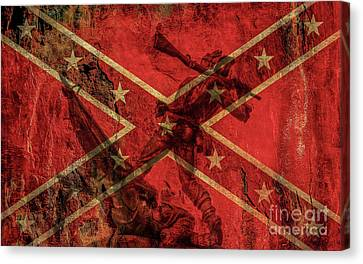 Confederate Flag And Mississippi Monument Canvas Print by Randy Steele