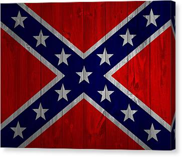 Confederate Flag Barn Door Canvas Print by Dan Sproul
