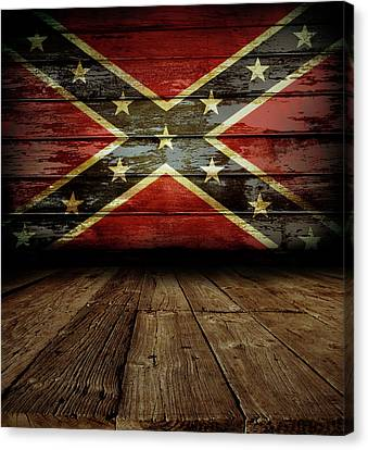 Confederate Flag On Wall Canvas Print by Les Cunliffe