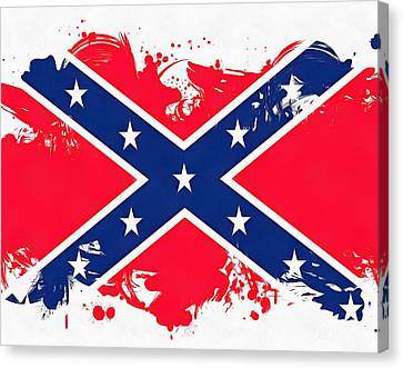 Confederate Flag Paint Splatter Canvas Print by Dan Sproul