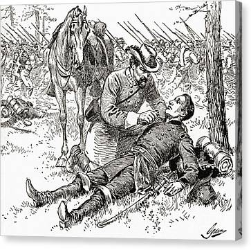 Battle Of Gettysburg Canvas Print - Confederate General John Brown Gordon Assists Wounded Union General Francis Channing Barlow by American School