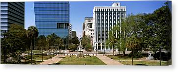 Confederate Monument With Buildings Canvas Print