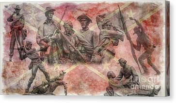 Confederate Monument Canvas Print - Confederate Monuments On The Gettysburg Battlefield by Randy Steele