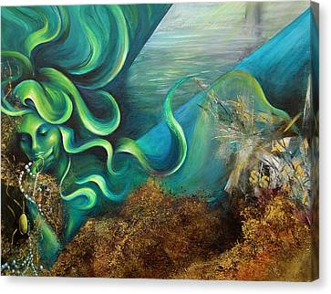 Canvas Print featuring the painting Confessions Of A Mermaid by Dina Dargo