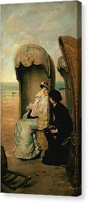 Confidences On The Beach Canvas Print by Vincente Gonzalez Palmaroli