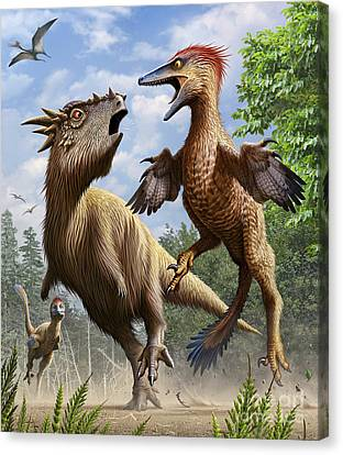 Four Animal Faces Canvas Print - Confrontation Between Pectinodon by Mohamad Haghani