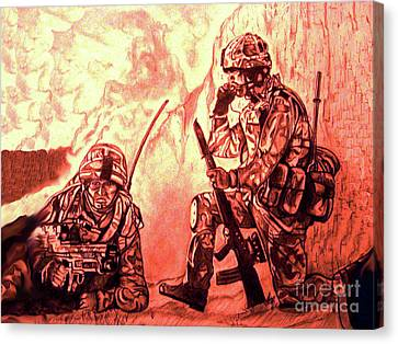 Confrontation Canvas Print by Johnee Fullerton