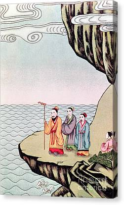 Confucius Contemplating The Course Of A River Canvas Print