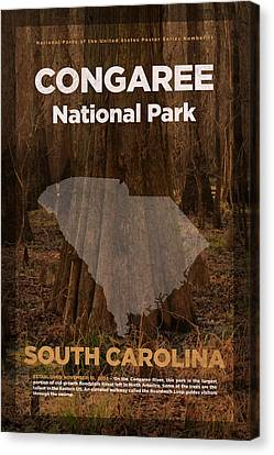 Congaree National Park In South Carolina Travel Poster Series Of National Parks Number 11 Canvas Print by Design Turnpike