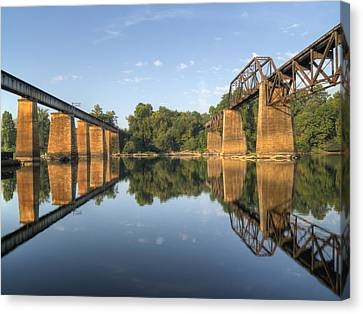 Congaree River Rr Trestles - 1 Canvas Print by Charles Hite