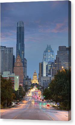 Frost Tower Canvas Print - Congress To The Texas State Capitol 3 by Rob Greebon