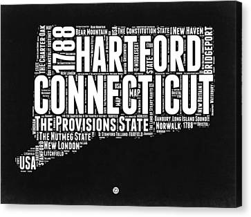 Connecticut Black And White Word Cloud Map Canvas Print by Naxart Studio