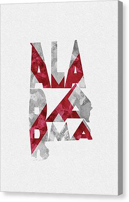 Canvas Print featuring the painting Alabama Typographic Map Flag by Inspirowl Design