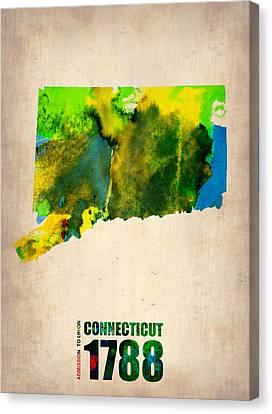 Connecticut Watercolor Map Canvas Print by Naxart Studio