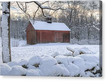 Connecticut Winter Barns Canvas Print by Bill Wakeley