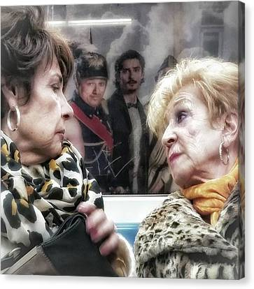 Connection #women #underground #metro Canvas Print by Rafa Rivas