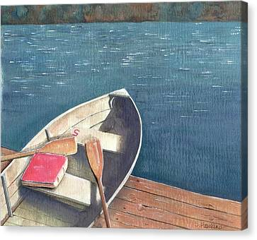 Connetquot Park Row Boat Canvas Print by Sheryl Heatherly Hawkins