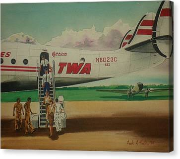 Connie Crew Deplaning At Columbus Canvas Print by Frank Hunter