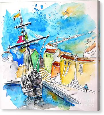 Conquistador Boat In Portugal Canvas Print by Miki De Goodaboom